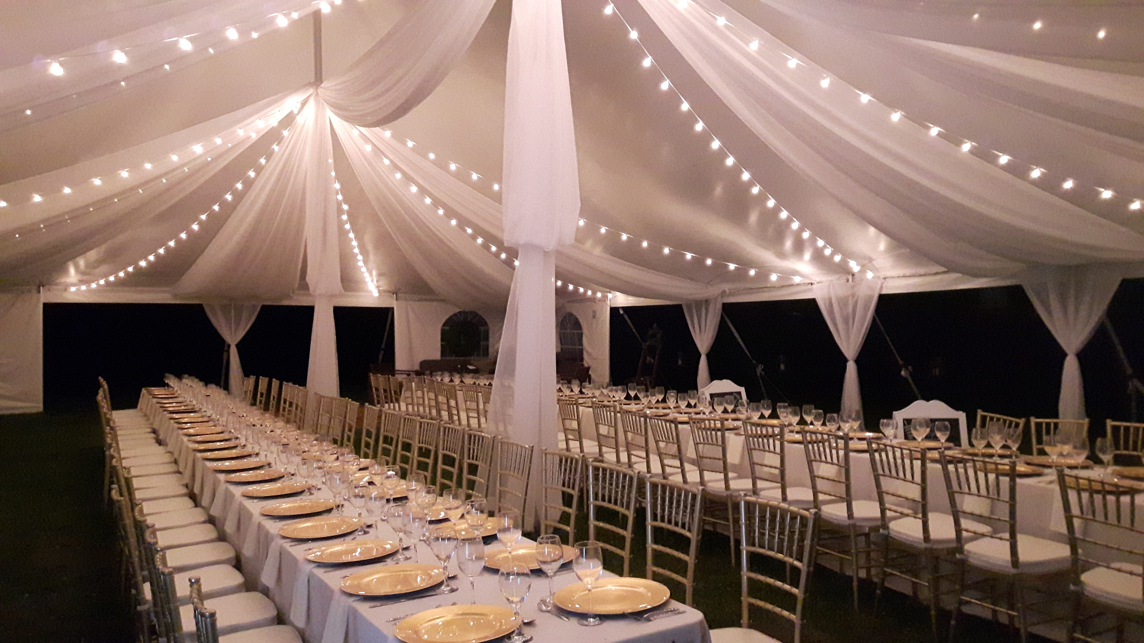 Tent Draping White String Globe Lights Valley Tent Party Rentals