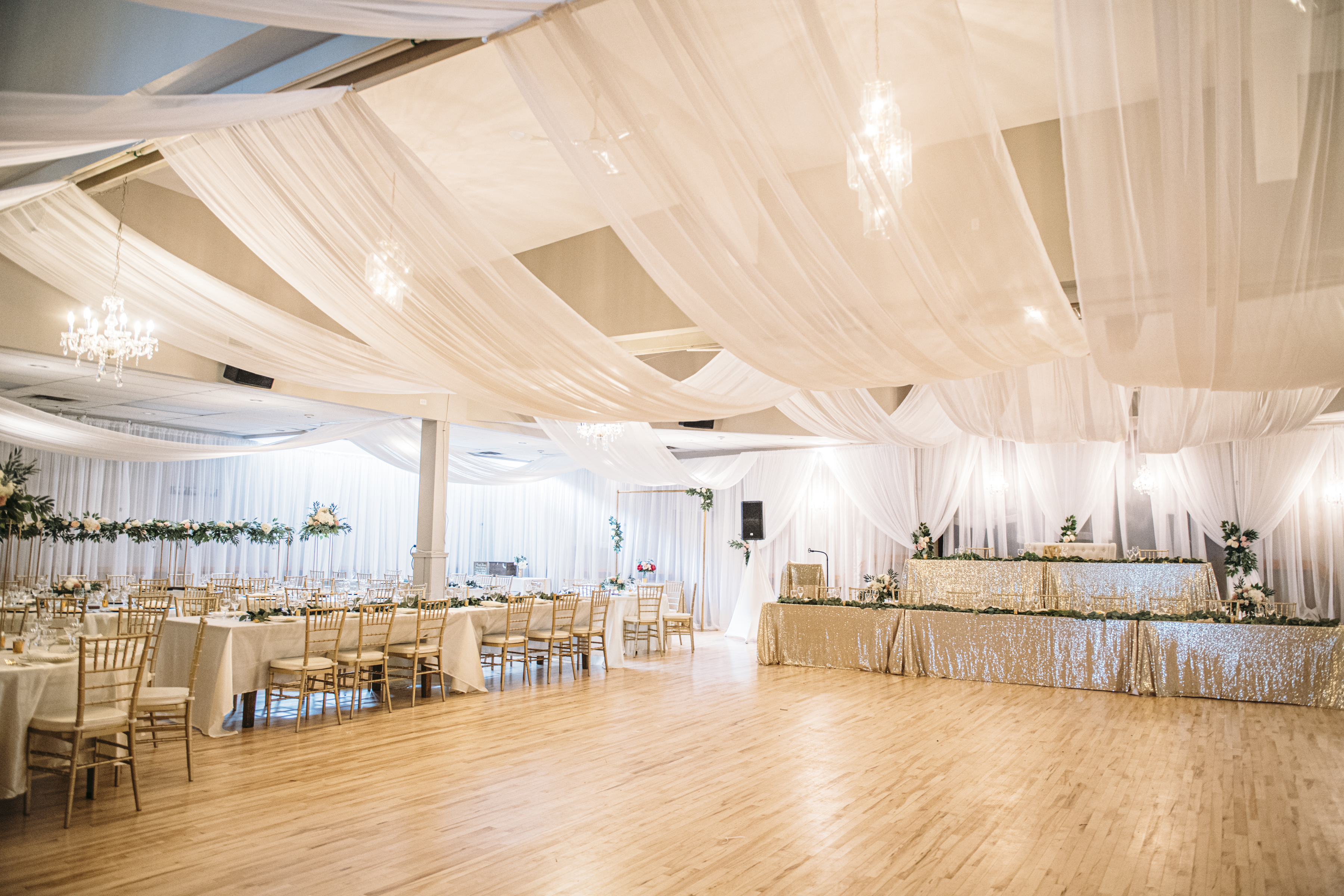 Parallel Ceiling Draping Panels Valley Tent Party Rentals